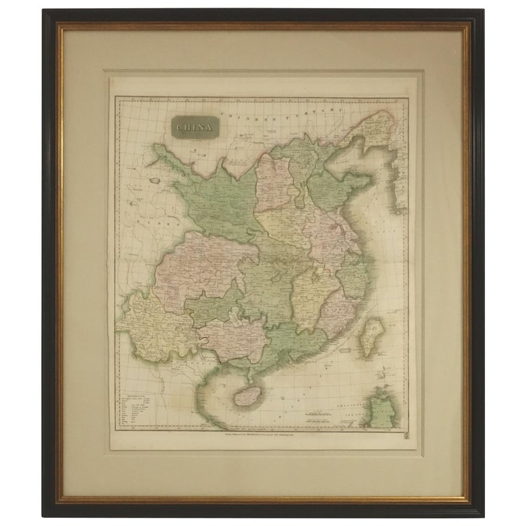 Framed Early 19th Century Drawn and Engraved Map of China For Sale
