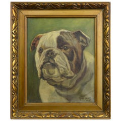 Framed English Bulldog Painting on Canvas, 1930s