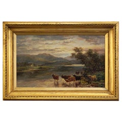 Framed English Oil Painting of Highland River Landscape by Andrew Lennox