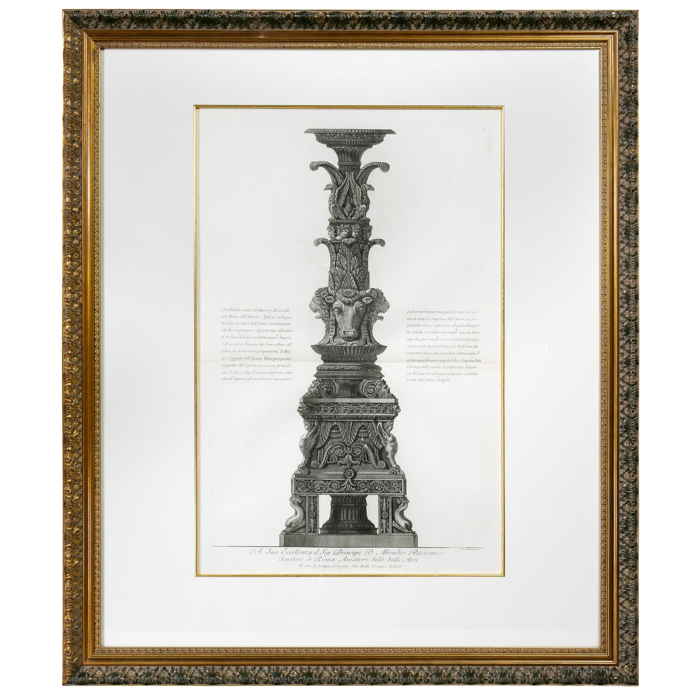 Framed Engraving of a Candelabrum by Francisco Piranesi