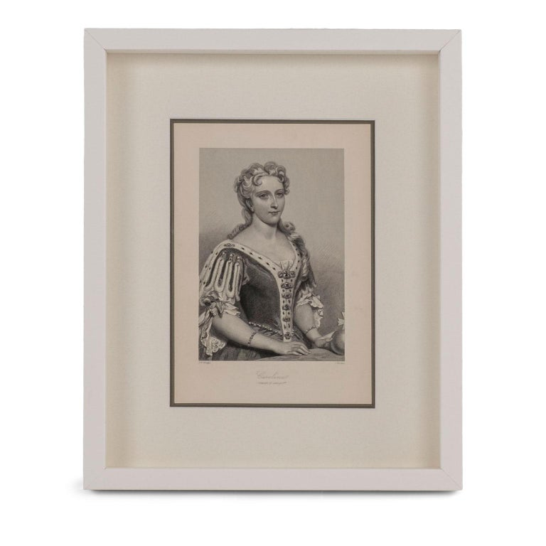 Framed engravings of English queens, twelve prints from steel engraved plates taken from