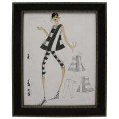 Framed Fashion Drawing and Watercolor Signed Ruben Robledo