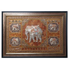 Framed Figural Burmese Elephant Kalaga, Jeweled & Padded Needlepoint