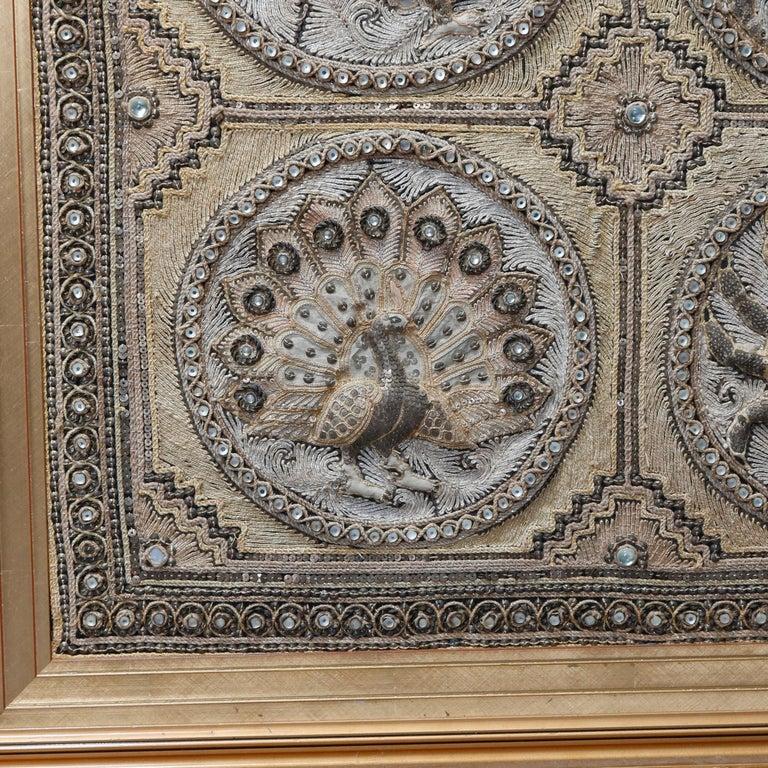 Framed Figural Burmese Zodiac Kalaga, Jeweled & Padded Needlepoint, 20th Century For Sale 7