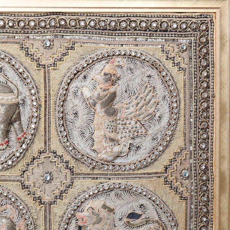 Tapestry Framed Figural Burmese Zodiac Kalaga, Jeweled & Padded Needlepoint, 20th Century For Sale