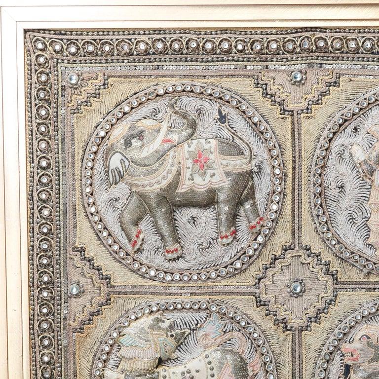 Framed Figural Burmese Zodiac Kalaga, Jeweled & Padded Needlepoint, 20th Century For Sale 1