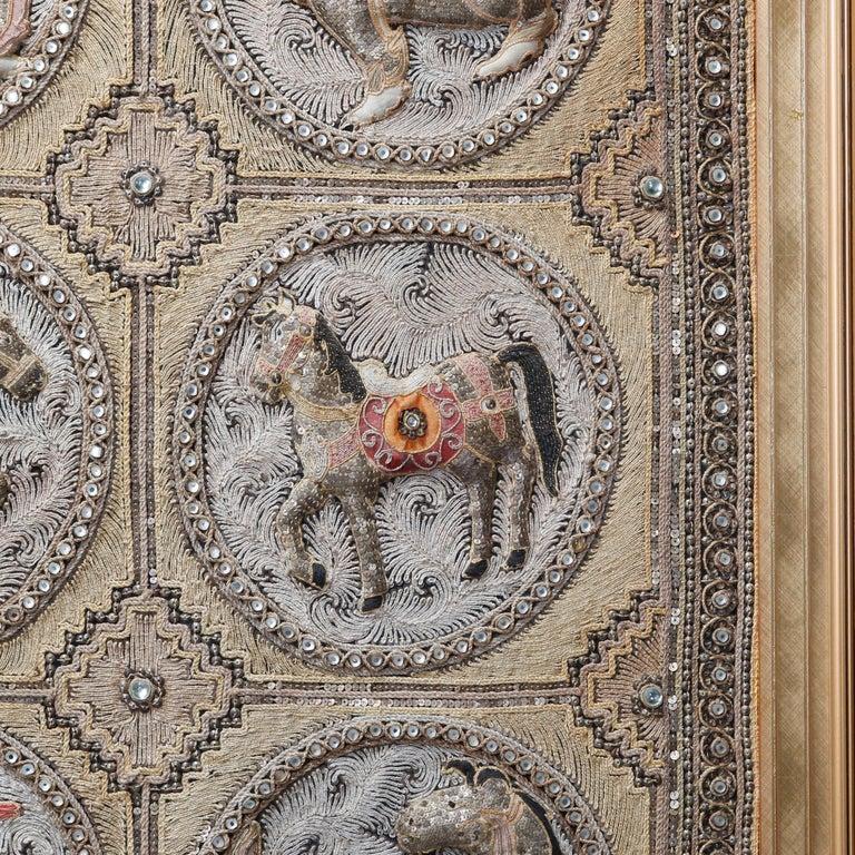 Framed Figural Burmese Zodiac Kalaga, Jeweled & Padded Needlepoint, 20th Century For Sale 5
