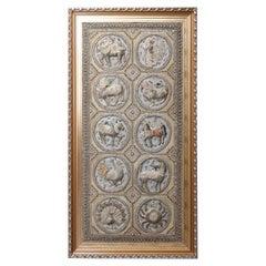 Framed Figural Burmese Zodiac Kalaga, Jeweled & Padded Needlepoint, 20th Century