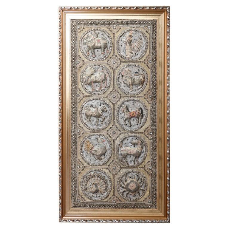 Framed Figural Burmese Zodiac Kalaga, Jeweled & Padded Needlepoint, 20th Century For Sale