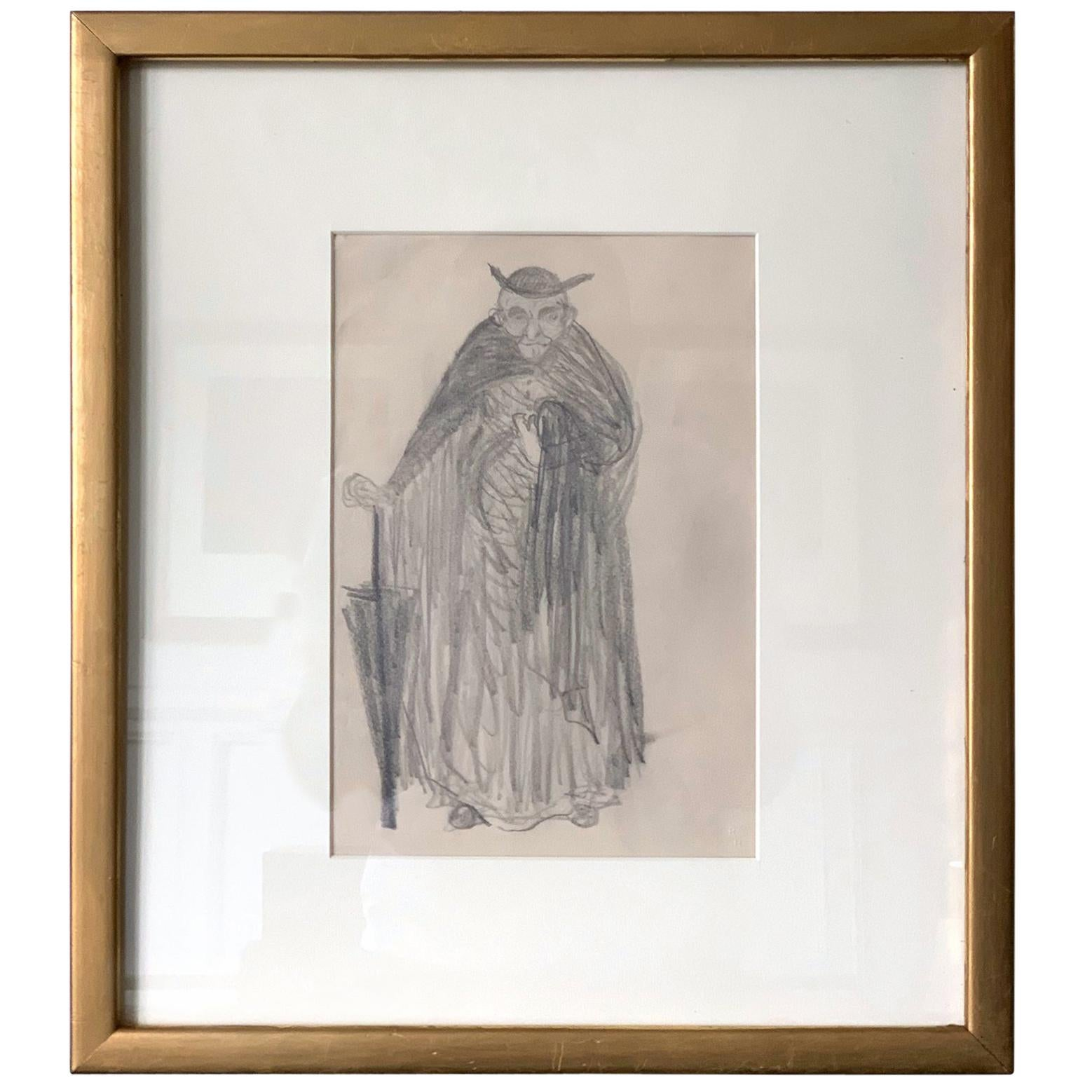 Framed Figurative Drawing by Robert Henri Ashcan School
