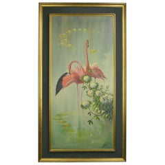 Framed Flamingo Painting, Late 20th Century