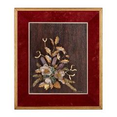 Framed Floral Bouquet Crafted from Gold and Semi-Precious Stones by Tolliday