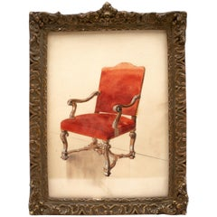 Framed French 19th Century Watercolor of Louis XIV Chair