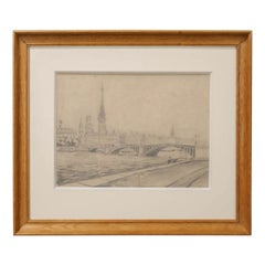 Framed French Architectural Drawing on Paper