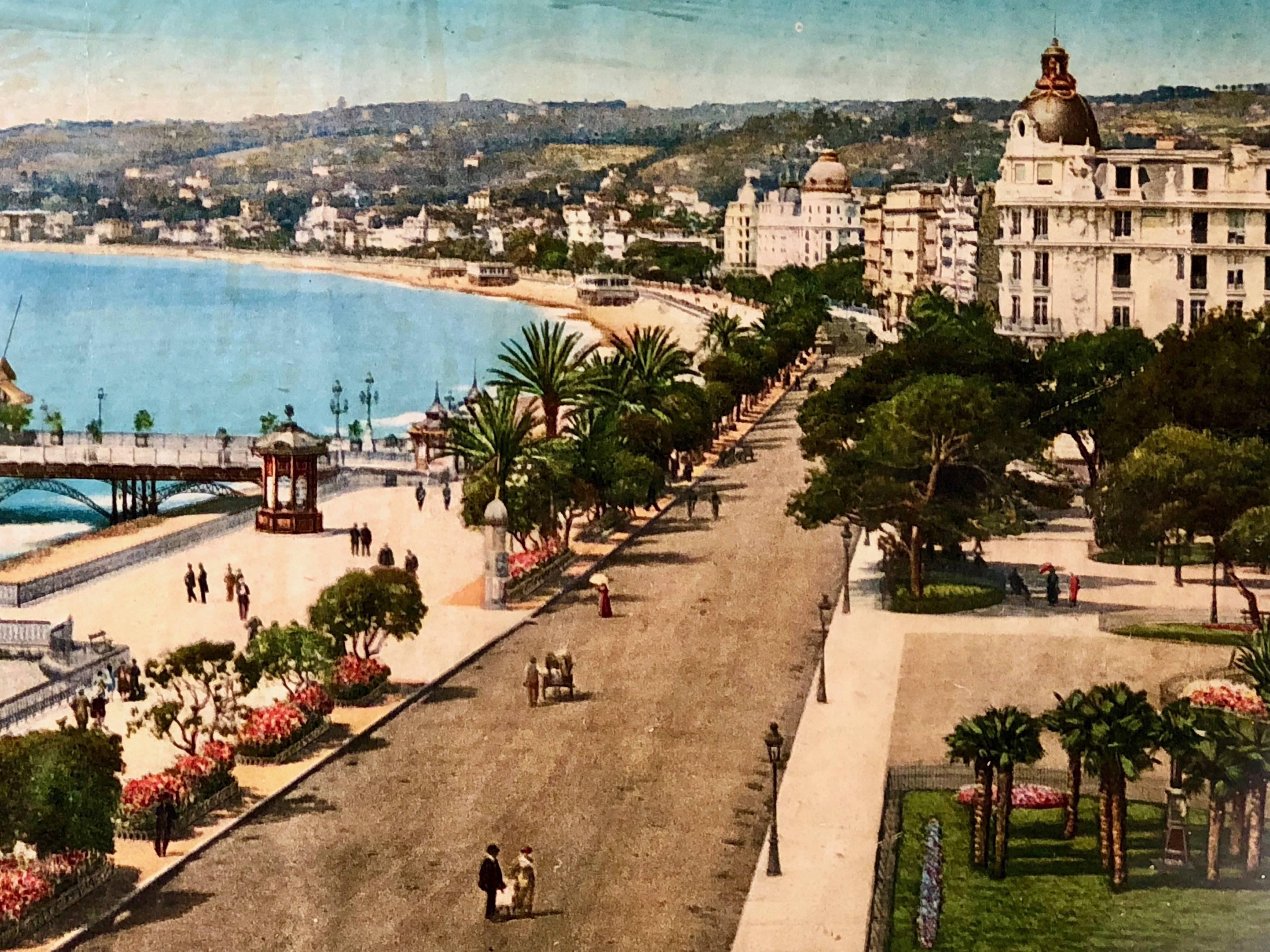 Framed French Colorized Photo of Nice, Albert 1st Gardens and Wharf ...