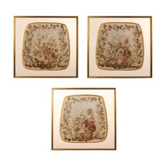 Framed French Silk Aubusson Tapestries with Floral Decor, Sold Individually