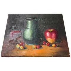 Framed French Still Life Oil on Canvas of Fruit, Wine, Pitcher, Signed P. Chiron