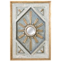 Framed Gold and Silver Leaf Italian Sunburst Mirror with Giltwood Fragments