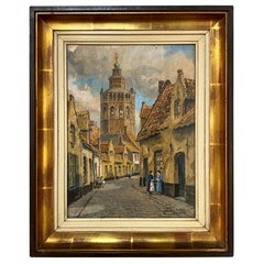 Framed Gouache Painting by Jef Clerens