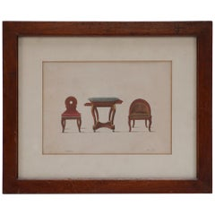 19th Century Framed Illustration of Three-Piece Furniture Set from France