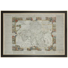 Framed Hand Colored Map of Asia by Nicolas de Fer for Le Dauphine