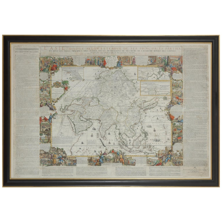 Framed Hand Colored Map of Asia by Nicolas de Fer for Le Dauphine For Sale