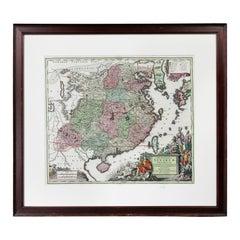 Framed Handcolored Map of Asia by Matthaus Seutter