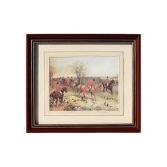 Framed Horse Print by William Joseph Shayer Fox Hunting Scene, England, 1800s
