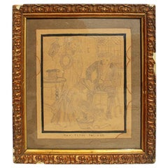 "Framed Illustration in Giltwood Frame ""Her First Drawing"" Signed 1911"