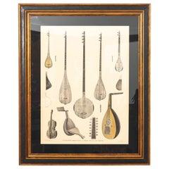 Framed Illustration of Antique Musical Instruments of Egypt