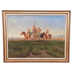 Framed Indigenous Americans on Horseback Painting
