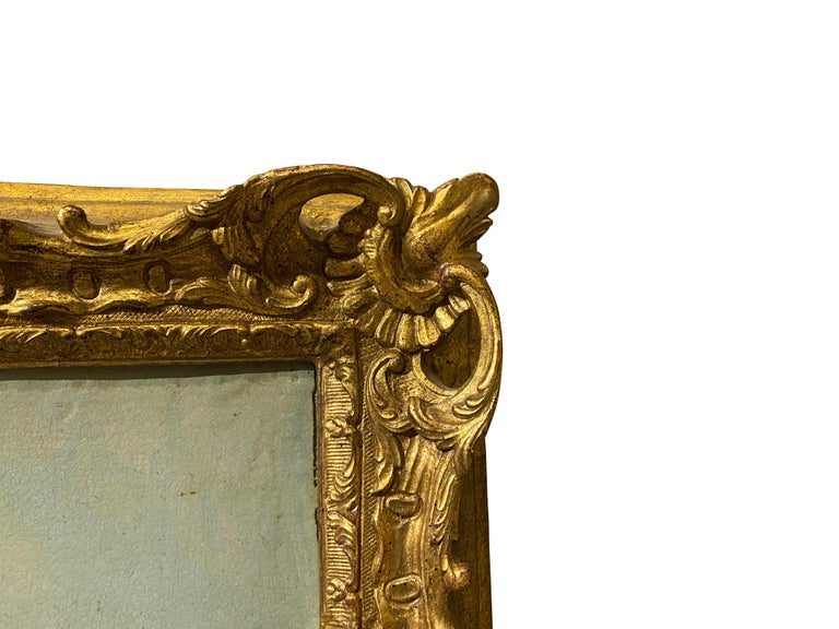 Well painted with scene of ancient ruins. In a carved gilt wood frame.