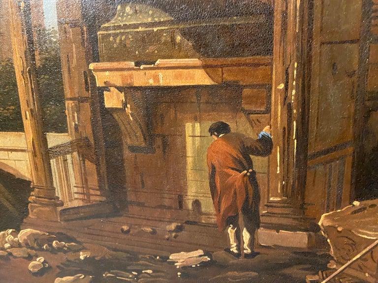 Framed Italian Capriccio Oil on Canvas For Sale 1