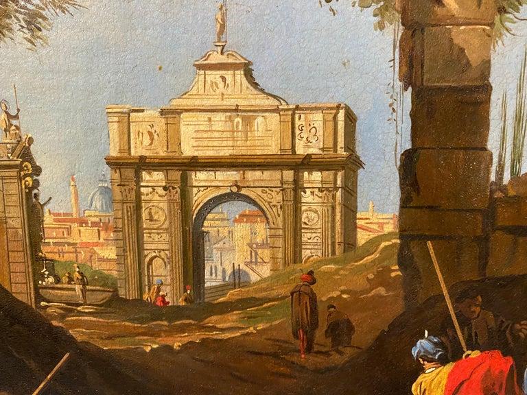 Framed Italian Capriccio Oil on Canvas For Sale 2