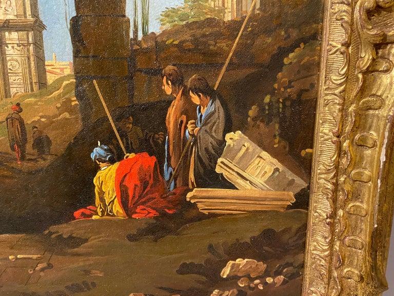 Framed Italian Capriccio Oil on Canvas For Sale 3