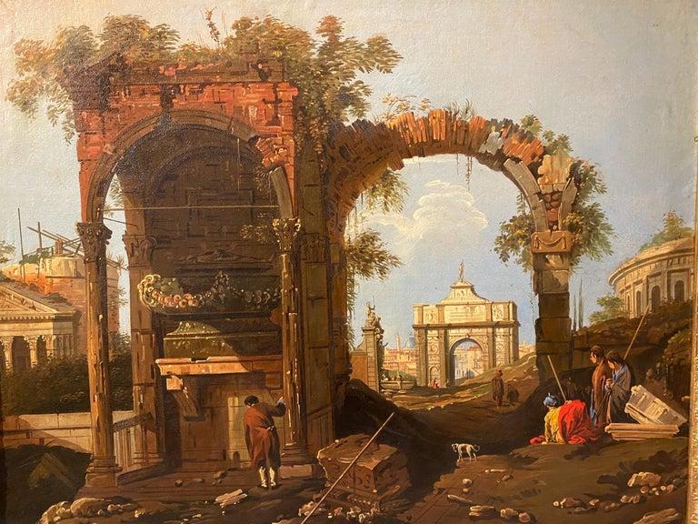 Framed Italian Capriccio Oil on Canvas For Sale 4