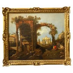 Framed Italian Capriccio Oil on Canvas