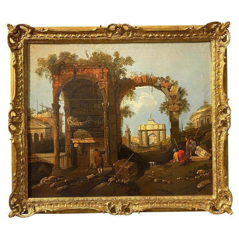 Framed Italian Capriccio Oil on Canvas For Sale