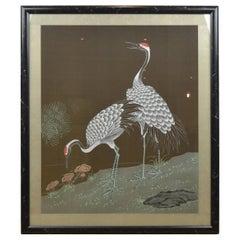 Framed Japanese Cranes on Silk, 1970s