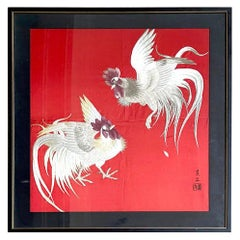 Framed Japanese Embroidery Textile Panel Rootsters