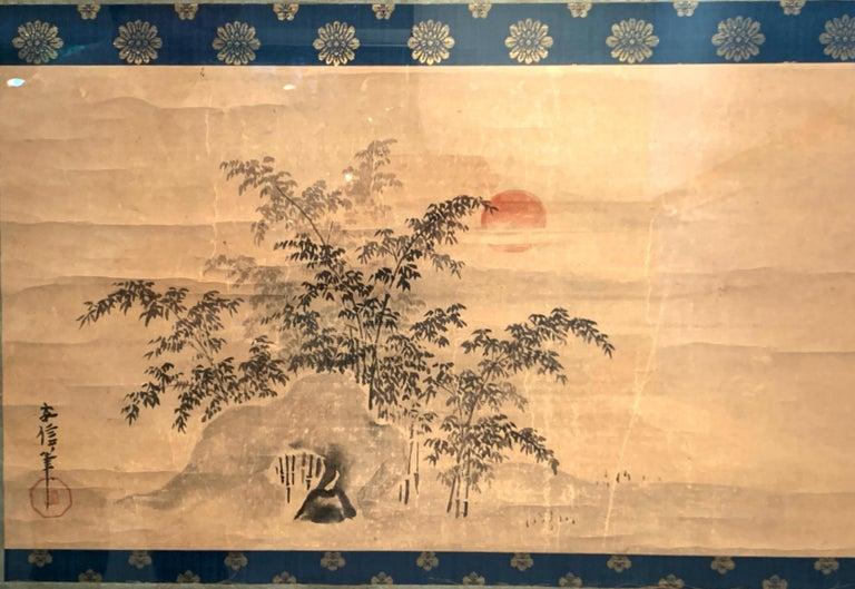 Meiji Framed Japanese Ink Painting Signed Yasunobu, Edo Period, 19th Century, Japan For Sale