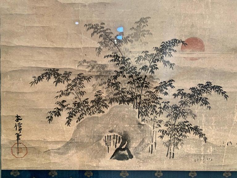 Hand-Painted Framed Japanese Ink Painting Signed Yasunobu, Edo Period, 19th Century, Japan For Sale