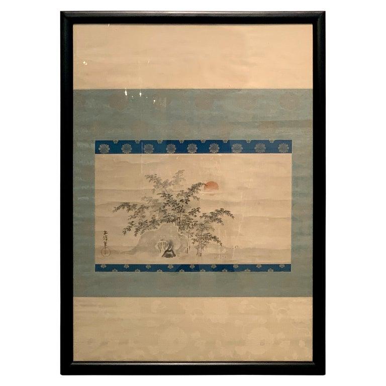 Framed Japanese Ink Painting Signed Yasunobu, Edo Period, 19th Century, Japan For Sale