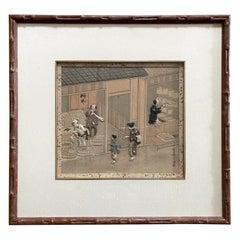 Framed Japanese Oshi-E Textile Art Meiji Period from a Rare Large Set