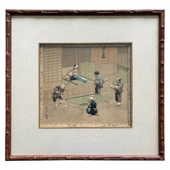 Framed Japanese Oshi-E Textile Art Meiji Period from a Rare Large Set