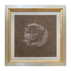 Framed Japanese Relief Embroidery Textile Art of Dragon
