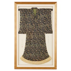 Framed Japanese Silk Brocade Ceremonial Kimono