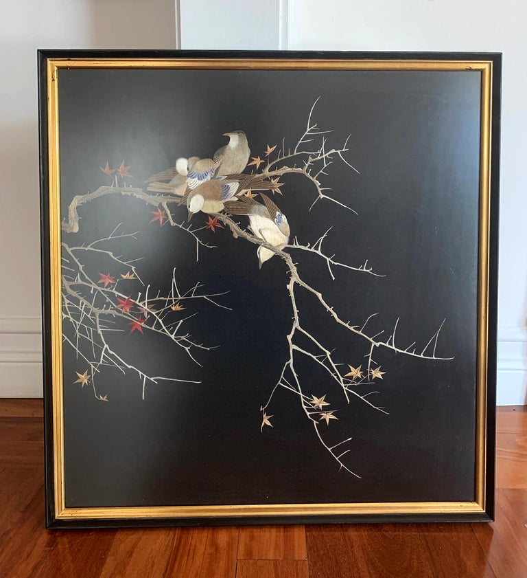 Framed Japanese Silk Embroidery Panel Meiji Period For Sale 6