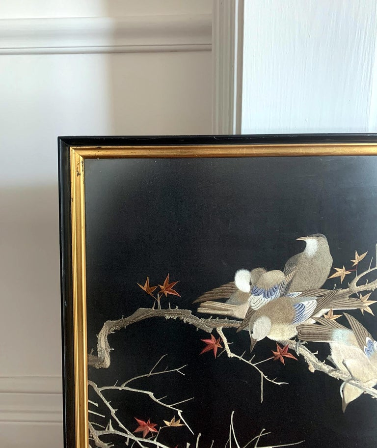 Framed Japanese Silk Embroidery Panel Meiji Period For Sale 7