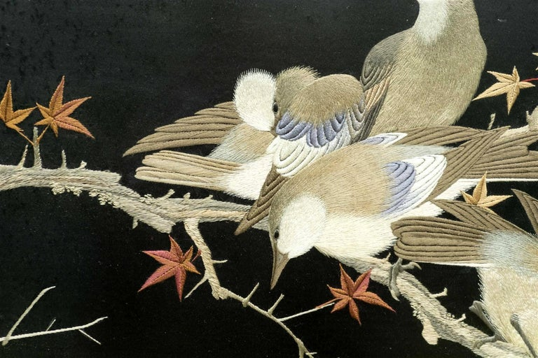 Framed Japanese Silk Embroidery Panel Meiji Period In Good Condition For Sale In North Miami, FL